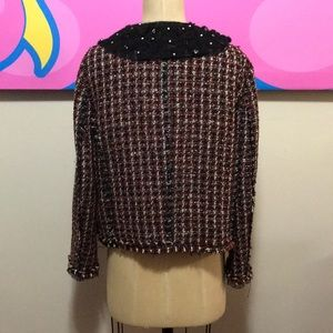 Zara Jackets & Coats - Zara Black Red White Tweed Boucle Jacket Fringe